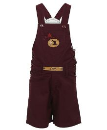 Benext Sleeveless Embroidered Dungaree With Patch - Maroon