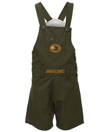 Benext Sleeveless Embroidered Dungaree With Patch - Green