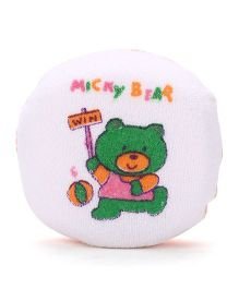 Round Shape Micky Bear Print Bath Sponge - White Orange