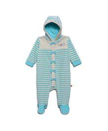 FS Mini Klub Full Sleeves Hooded Sleepsuit Romper Style - Aqua Blue