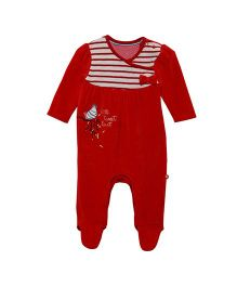 FS Mini Klub Footed Velour Sleepsuit Bird Embroidery - Red