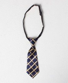 Pikaboo Checkered Tie - Blue And Golden
