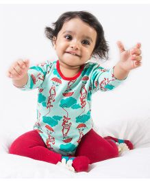 Tiber Taber Full Sleeves Mosquito Repellent Onesie Monkey Print - Sea Green