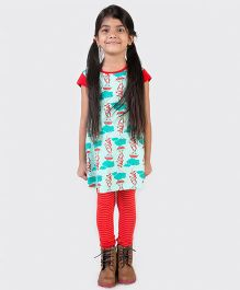 Tiber Taber Short Sleeves Mosquito Repellent Dress Monkey Print - Sea Green