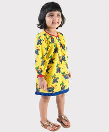 Tiber Taber Full Sleeves Mosquito Repellent Dress Cow Print - Yellow