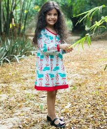 Tiber Taber Full Sleeves Mosquito Repellent Dress Monkey Print - Blue Sea Green