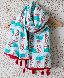Tiber Taber Mosquito Repellent Stole Monkey Print - Blue Sea Green