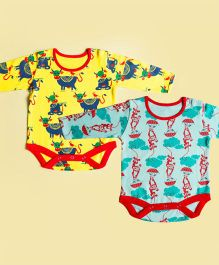 Tiber Taber Full Sleeves Mosquito Repellent Onesies Pack of 2 - Yellow Blue Sea Green