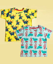 Tiber Taber Half Sleeves Mosquito Repellent T-Shirts Pack of 2 - Yellow Blue Sea Green