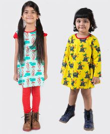 Tiber Taber Short And Full Sleeves Mosquito Repellent Dresses Pack of 2 - Yellow Blue