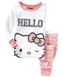Pre Order Adores Full Sleeves Night Suit Hello Kitty Print - White