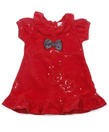 Happy Face Puff Sleeves Party Wear Dress With Bow Applique - Red