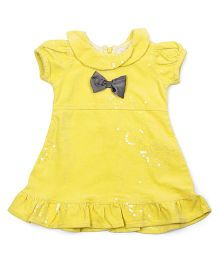 Happy Face Puff Sleeves Party Wear Dress With Bow Applique - Yellow