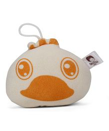 Baby Duck Face Design Print Bath Sponge - Off White Orange