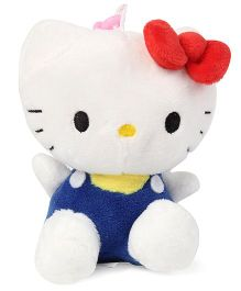 Hello Kitty Plush Soft Toy With Bow White And Dark Blue - 11 cm