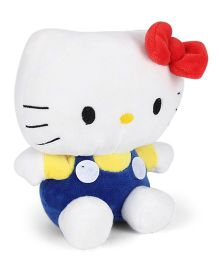 Hello Kitty Plush Soft Toy With Bow White And Dark Blue - 16 cm