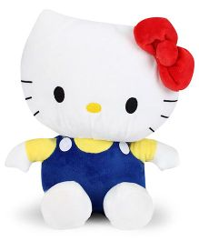 Hello Kitty Plush Soft Toy With Bow White And Royal Blue - 25 cm
