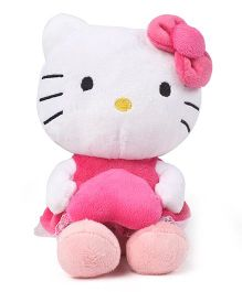 Hello Kitty Plush Soft Toy With Bow And Heart White & Pink - 20 cm