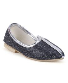 Ethnik's Neu Ron Mojari Shoes - Black & Silver