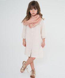 Yo Baby Button Up Shift Dress & Scarf - Off White & Beige