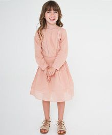 Yo Baby Full Sleeves A Line Dress - Peach