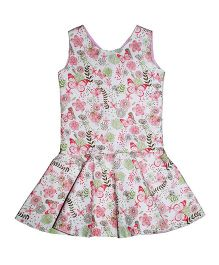Kadambaby Sleeveless Floral Print Corduroy Dress - White Pink Green