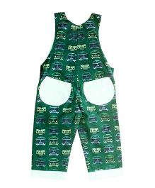 Kadambaby Sleeveless Cars Print Dungaree - Green