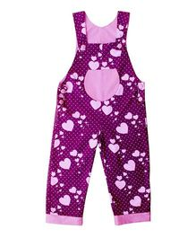Kadambaby Sleeveless Hearts Print  Dungaree - Purple