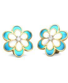 BlueStone 14kt Yellow Gold And Diamond Petal Earrings - Blue