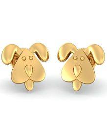 BlueStone 18kt Yellow Gold Faithful Doggy Earrings For Kids