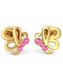 BlueStone 14kt Yellow Gold And Sapphire Pretty Butterfly Earrings - Pink