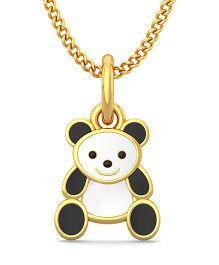 BlueStone 18kt Yellow Gold Kiddie Panda Pendant - White & Black