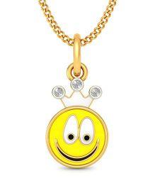 BlueStone 18kt Yellow Gold And Diamond Smiley Baby Pendant - Yellow