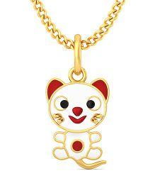 BlueStone 18kt Yellow Gold Mighty Meow Pendant - White & Red