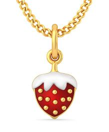 BlueStone 18kt Yellow Gold Strawberry Love Pendant - Red
