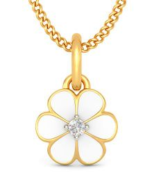 BlueStone 18kt Yellow Gold And Diamond Floral Joy Pendant  - White