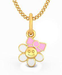 BlueStone 18kt Yellow Gold Floral Princess Pendant  - White & Pink