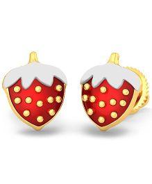 BlueStone 18kt Yellow Gold Strawberry Love Earrings - Red