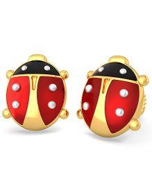 BlueStone 18kt Yellow Gold Brave Ladybird Earrings  - Red & Black