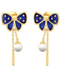 BlueStone 14kt Yellow Gold And Pearl Adorable Bow Earrings - Blue