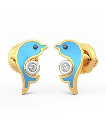 BlueStone 14kt Yellow Gold And Diamond Friendly Dolphins Earrings - Blue