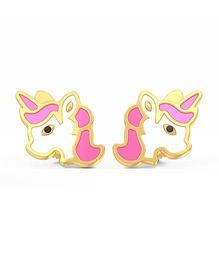 BlueStone 18kt Yellow Gold Magic Unicorn Earrings - Pink & White