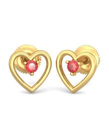 BlueStone 14kt Yellow Gold And Ruby Red Heart Earrings - Red