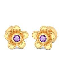 BlueStone 14kt Yellow Gold And Amethyst Taren Earrings - Purple