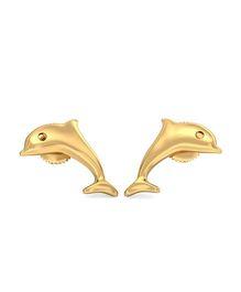 BlueStone 22kt Yellow Gold Favourite Dolphin Earrings - Golden