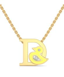 BlueStone 18kt Yellow Gold And Diamond D For Duck Necklace - Yellow