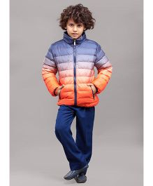 One Friday Full Sleeves Tie & Dye Party Wear Quilted Jacket - Orange Blue