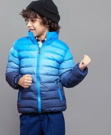One Friday Full Sleeves Tie & Dye Party Wear Quilted Jacket - Blue