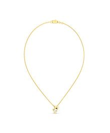 BlueStone 18kt Yellow Gold And Diamond P For Panda Necklace for Kids