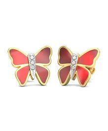 BlueStone 14kt Yellow Gold And Diamond Butterfly Earrings - Red And Golden
